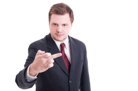 insulting: Accountant or financial manager showing obscene and insulting middle finger isolated on white Archivio Fotografico