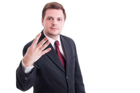 number four: Accountant or businessman showing number four with fingers isolated on white Stock Photo