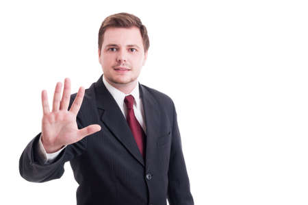number five: Accountant or businessman showing number five with fingers isolated on white. Stop stay gesture concept