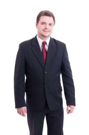 hombres jovenes: Contable joven y simp�tico o administrador financiero pie aislado en blanco Foto de archivo