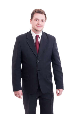 Young and friendly accountant or financial manager standing isolated on white