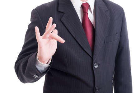 middle finger: Businessman or accountant making obscene and insulting gesture isolated on white Stock Photo