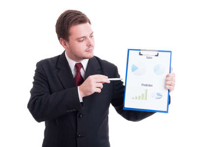hardworker: Accountant or financial manager showing charts and statistics printed on clipboard
