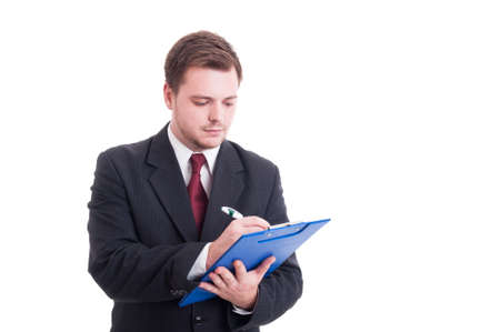clipboard: Busy accountant or financial manager writing on clipboard isolated on white Stock Photo