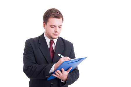 the clipboard: Contador Ocupado o gerente financiero escrito en el portapapeles aislados en blanco