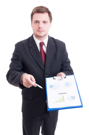 hardworker: Sales manager or salesman showing printed financial charts and statistics isolated on white Stock Photo