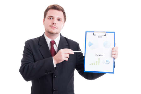 hardworker: Confident sales manager showing chartpie or marketing results chart on a clipboard