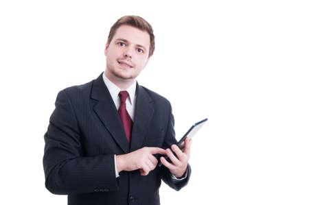 banker: Modern banker or broker using wireless tablet isolated on white studio background