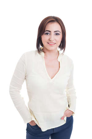 average woman: Normal average woman wearing casual clothes and make-up standing and posing isolated on white studio background