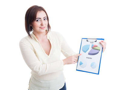 sales chart: Casual business woman showing printed financial and sales chart isolated on white background Stock Photo