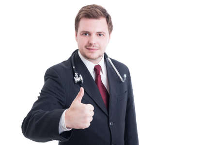 thumbup: Elegant medic or doctor showing like thumb-up gesture isolated on white