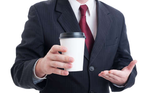 to go cup: Closeup with hand of businessman holding coffee to go cup isolated on white