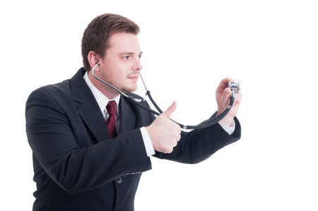 thumbup: Male doctor holding stethoscope and showing like and thumb-up gesture isolated on white