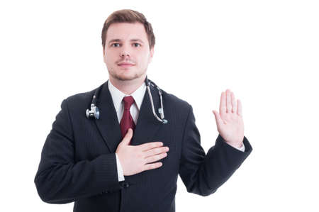 hippocratic: Medic or doctor making Hippocrates oath concept isolated on white Stock Photo