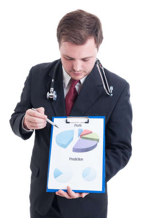 prediction: Hospital manager showing profit and prediction chart on clipboard Stock Photo