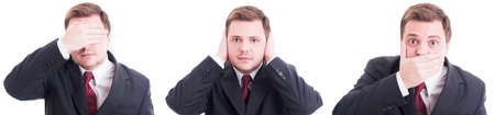 senses: Blind deaf mute senses concept made by suited businessman. Same person covering eyes ears and mouth Stock Photo