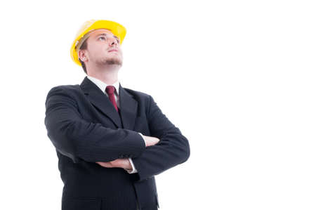 visionary: Hero shot of architect or visionary contractor with arms crossed and looking up to the future concept Stock Photo