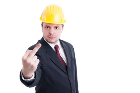 insulting: Engineer, architect or contractor showing obscene and insulting middle finger isolated on white