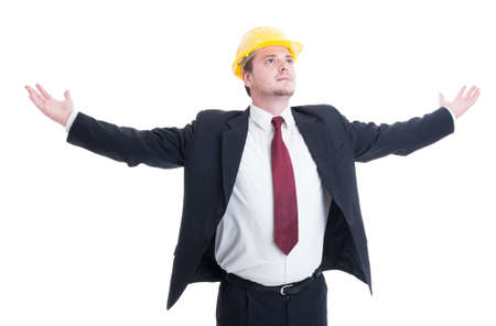 outspread: Engineer, architect or contractor with arms wide outspread and outstretched looking up isolated on white