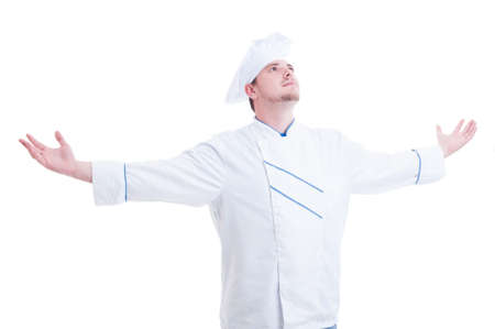 arms wide open: Chef or cook with arms wide open outstretched and outspread isolated on white