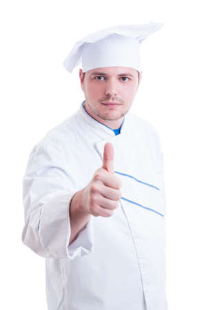 thumbup: Confident cook or chef showing like or thumb-up gesture isolated on white