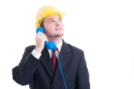 answering phone: Contact person, sales assistance or support for real estate company answering the phone Stock Photo