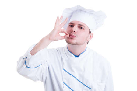 kissing mouth: Chef or cook making tasty gesture by kissing fingers isolated on white