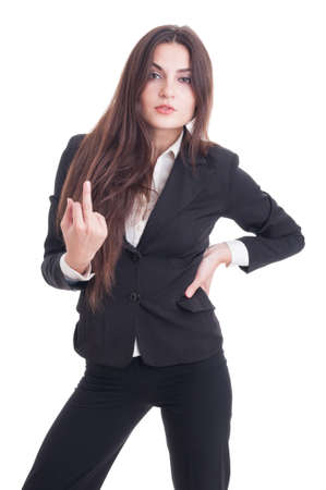 insulting: Arrogant business woman showing obscene insulting middle finger gesture isolated on white background Archivio Fotografico