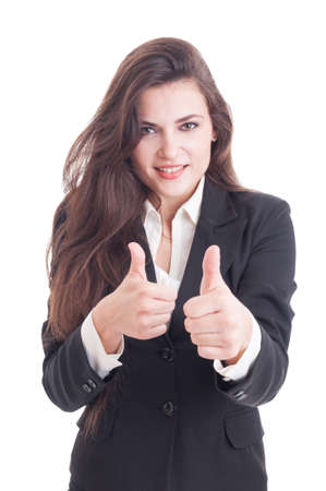 black secretary: Sexy and beautiful business woman showing double like gesture or thumbs-up isolated on white background Stock Photo