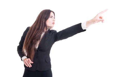 visionary: Visionary business woman pointing finger up isolated on white background