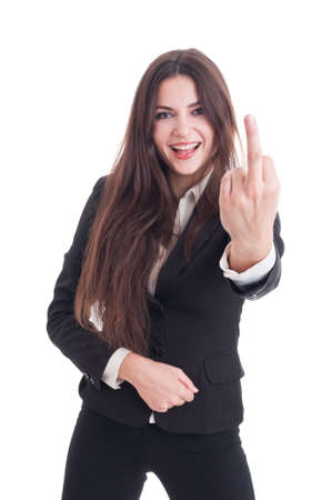 insulting: Happy smiling business woman showing obscene insulting middle finger gesture isolated on white background