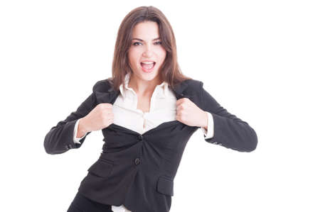Young successful business woman acting sexy by opening her suit jacket as super woman isolated on white background