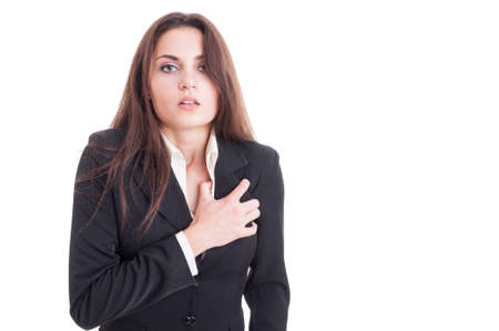 cardiac arrest: Business woman having a heart attack or cardiac arrest isolated on white background