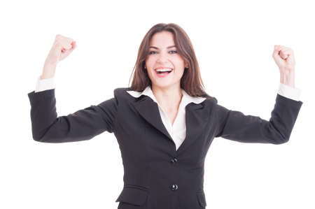 Happy and successful business woman, entrepreneur or financial manager raising hands in the air isolated on white background