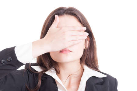 auditor: Business woman, inspector, auditor or supervisor woman covering eyes isolated on white background
