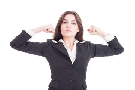 feminist: Strong, independent and beautiful feminist showing power by flexing arms isolated on white background