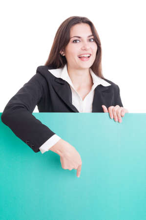 sales manager: Business woman or sales manager showing a green empty cardboard