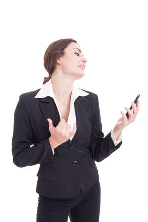 acting: Business woman acting sexy on a video call using smartphone and opening her shirt