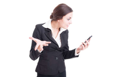 demanding: Bossy female manager demanding explanations over video call isolated on white background Stock Photo