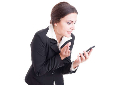 video call: Modern and bossy female manager explaining something over video call isolated on white background