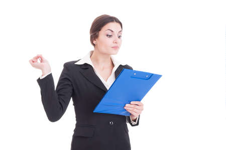 cheque en blanco: Busy and arrogant woman business inspector or supervisor holding clipboard with checklist isolated on white background