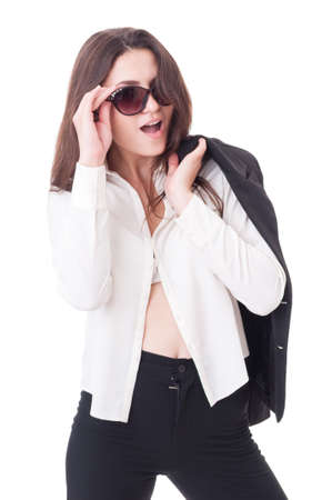 open shirt: Young formal elegant female model acting sexy with open shirt and shades or sunglasses