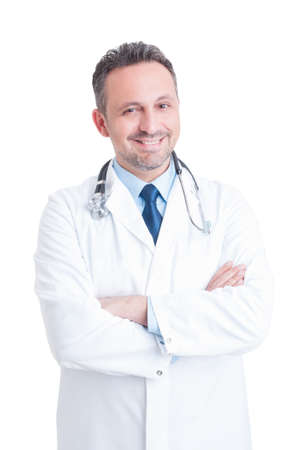 Young handsome and friendly male doctor or medic smiling isolated on white background