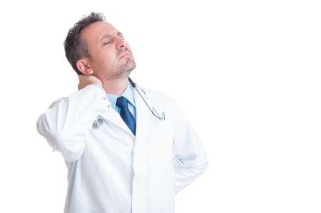 symptom: Doctor or medic suffering of back neck pain as high blood pressure symptom Stock Photo