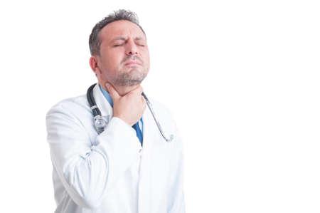 symptom: Doctor or medic suffering of sore throat as symptom of laryngitis