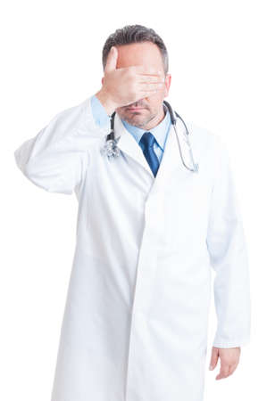 confidentiality: Medic or doctor covering his eyes as confidentiality concept isolated on white background
