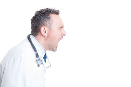 Side view of angry medic or doctor yelling and shouting isolated on white copy space