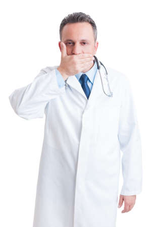 confidentiality: Medic or doctor covering his mouth as confidentiality concept isolated on white background