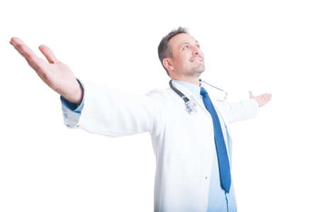 spreading arms: Successful medic or doctor spreading arms wide isolated on white background