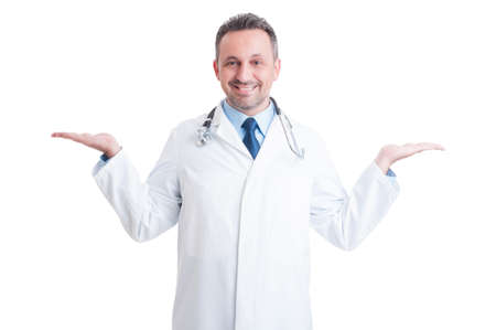 Medic or doctor holding blank copy space on both hands isolated on white studio background